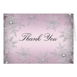 Pink Crystal Snowflake Christmas Thank You Card