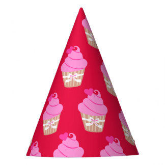 Pink cup cake feesthoedje party hat