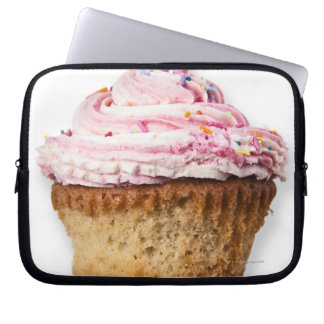 Pink cup cake, on white background, cut out laptop sleeve