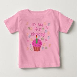 Pink Cupcake 1st Birthday Baby T-Shirt