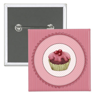 Pink Cupcake 2 Inch Square Button