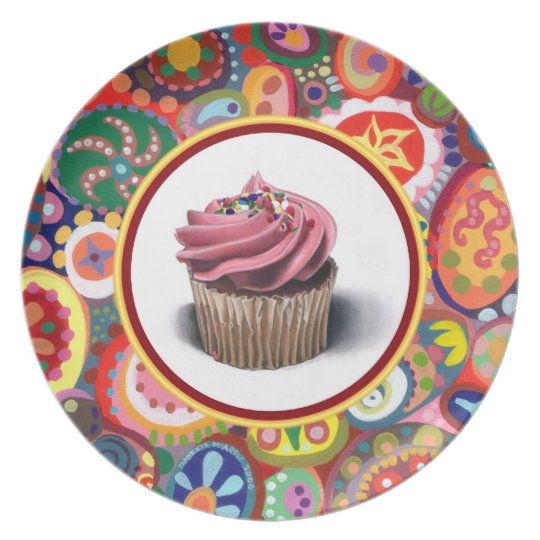 Pink Cupcake Art Plate - Colourful Abstract