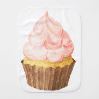 pink cupcake baby burp cloth