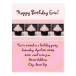 Pink Cupcake Birthday Invitation Postcards