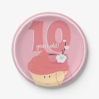 Pink Cupcake Birthday   Paper Plate