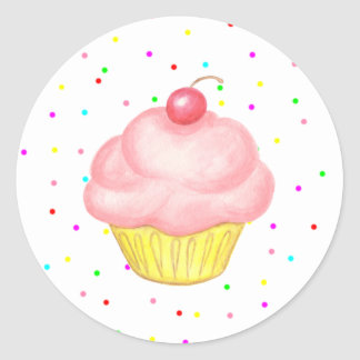 Pink Cupcake Birthday Party Stickers