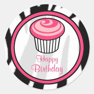 Pink Cupcake Birthday Sticker - Black Zebra Print