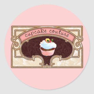 Pink Cupcake Couture Sign Logo Banner Round Stickers