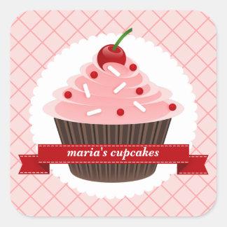 Pink Cupcake Kitchen Labels Square Sticker
