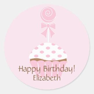 Pink Cupcake Lollipop Happy Birthday Sticker
