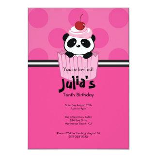 "Pink Cupcake Panda Birthday Party Invitation 5"" X 7"" Invitation Card"