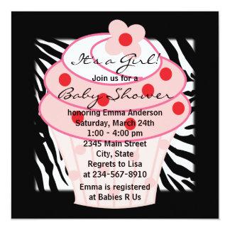 Pink Cupcake Pink Zebra Baby Shower Card