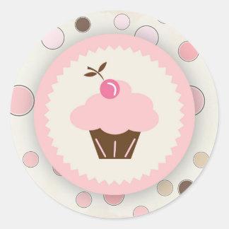 Pink Cupcake Polka Dot Sticker