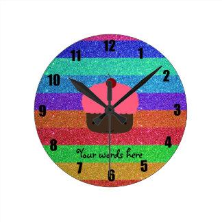 Pink cupcake rainbow glitter round clock