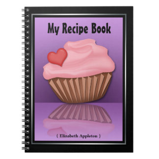 Pink Cupcake Reflection Purple Recipe Notebook