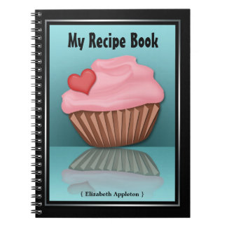 Pink Cupcake Reflection Turquoise Recipe Notebook