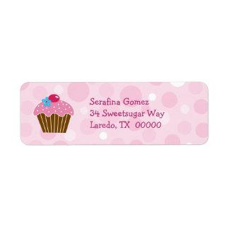Pink Cupcake Return Address Label