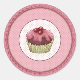 Pink Cupcake Round Sticker