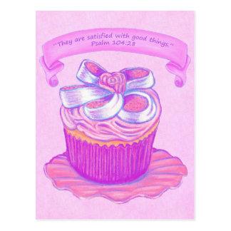 Pink Cupcake~Satisfied Good Scripture Postcard