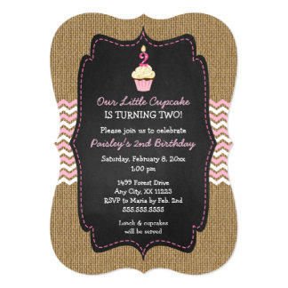 Pink cupcake second birthday party invites