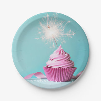 """Pink Cupcake Themed Paper Plates 7"""""""