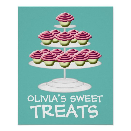 Pink Cupcake Tower Sweet Treats Sign