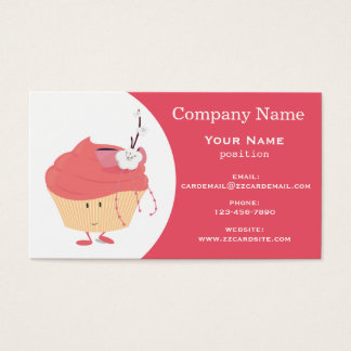 Pink cupcake with flowers business card