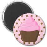 Pink Cupcake with Pink Polka Dots Magnet