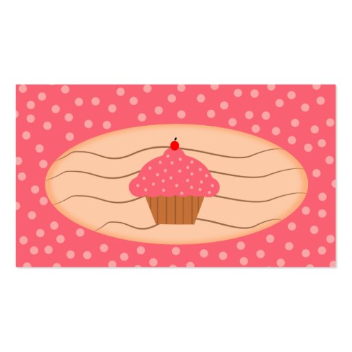 Pink Cupcake with Polka Dots Business Cards