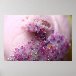 Pink cupcake with sugar photo poster