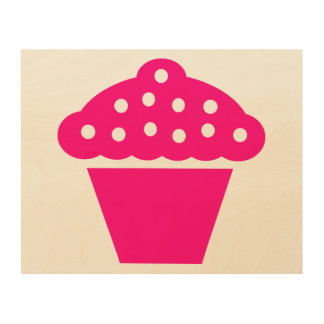 Pink Cupcake Wood Wall Art Wood Prints