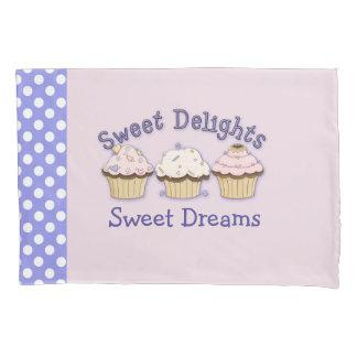 Pink Cupcakes and Polka Dots Pillow Case Pillowcase