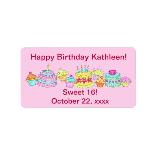 Pink Cupcakes /Cake Happy Birthday Sweet 16 Label
