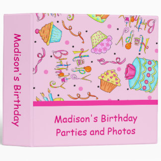 Pink Cupcakes Cakes Custom Birthday Album Vinyl Binder