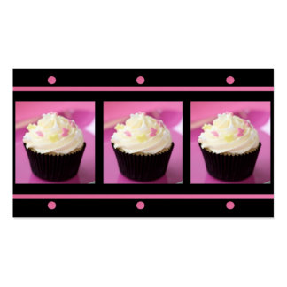 Pink Cupcakes on Black Business Cards