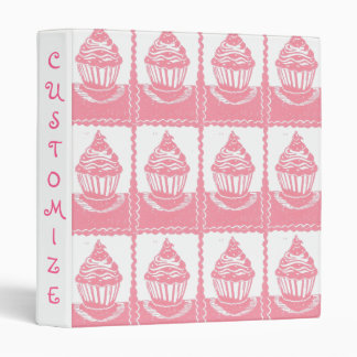 Pink Cupcakes Pattern Custom Binder