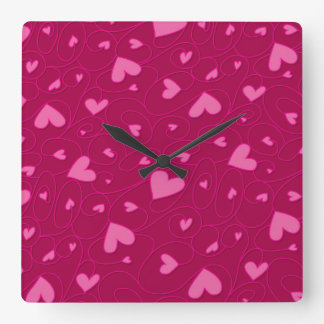 Pink curly hearts clocks