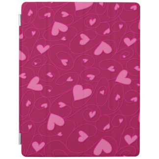 Pink curly hearts iPad cover