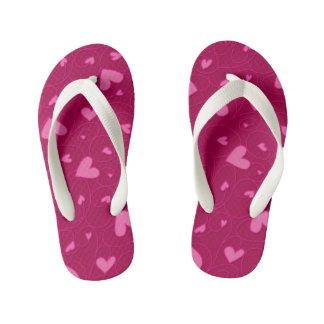 Pink curly hearts kid's flip flops