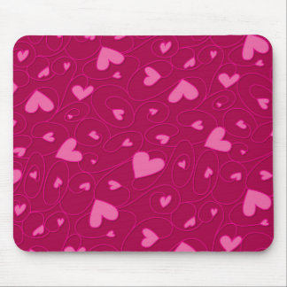 Pink curly hearts mouse pad