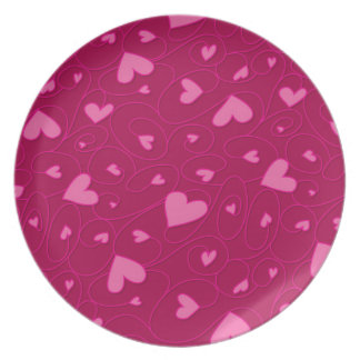 Pink curly hearts plates