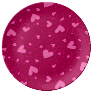 Pink curly hearts porcelain plates