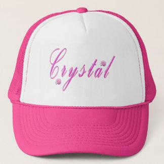 Pink Cursive Crystal Name Logo, Trucker Hat