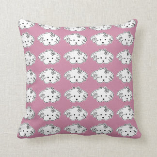 Pink cushion, small dog, the world of Lua Throw Pillow