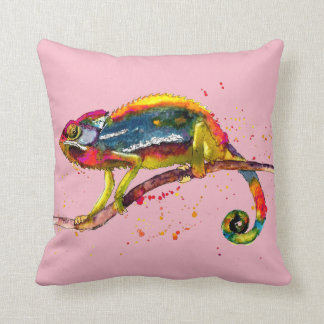 pink cushions with handpainted Chameleon