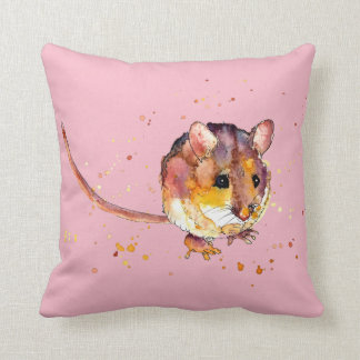 pink cushions with handpainted mouse
