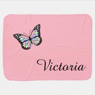 Pink Custom Butterfly Baby Blanket