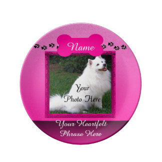 Pink Custom Dog Memorial Porcelain Plate