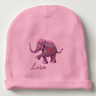 Pink Custom Name Cute Cheeky Baby Elephant Baby Beanie