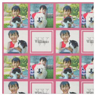 Pink Custom Personalized Photo Collage Monogram Fabric